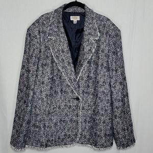 Talbots Vintage Tweed Raw Hem Single Button Blazer